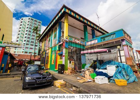 Singapore - August 11 2014: Little India district building in Singapore. It's Singaporean neighbourhood east of the Singapore River and commonly known as Tekka in the local Tamil community