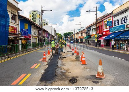 SINGAPORE - AUGUST 11: Little India district on August 11 2014 in Singapore. Now Singapore has the world's highest percentage of millionaires with one out of every 6 households having at least $1000000 US