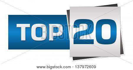 Top 20 text alphabets written over blue grey background.