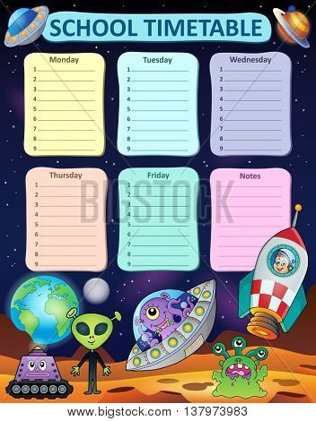 Weekly school timetable thematics 8 - eps10 vector illustration.