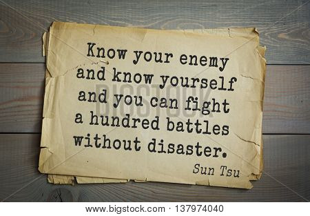 Ancient chinese strategist and philosopher Sun Tzu quote on old paper background. Know your enemy and know yourself and you can fight a hundred battles without disaster.