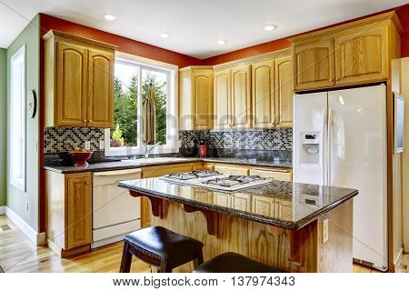 Small Kitchen With Island, Dark Granite Counter Top