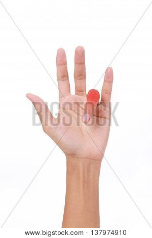 Hand of female trigger finger on white background