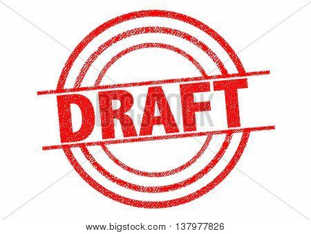 DRAFT red Rubber Stamp over a white background.