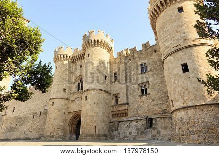 Front of the Grand Master of the Knights of Rhodes, a medieval castle of the Hospitaller Knights on the island of Rhodes, Greece.