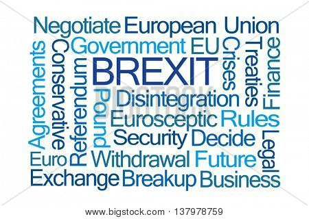 Brexit Word Cloud on White Background