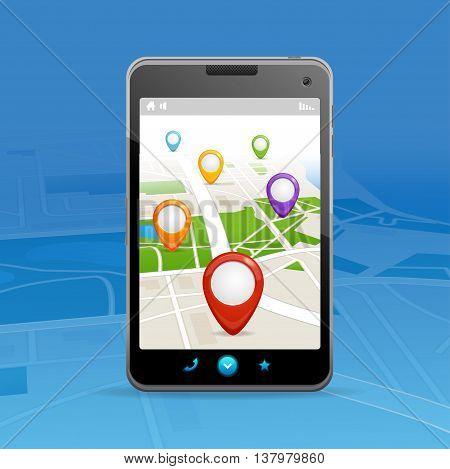 Navigation Concept. GPS on a Mobile Phone. Vector illustration