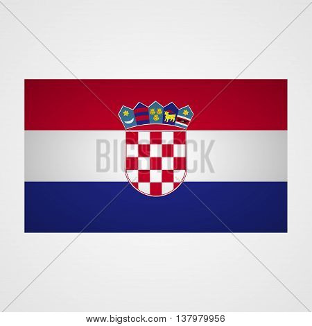 Croatia flag on a gray background. Vector illustration