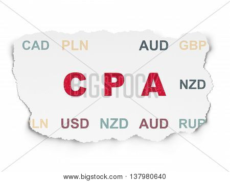 Finance concept: Painted red text CPA on Torn Paper background with  Currency
