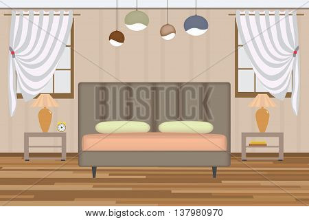 Bedroom Illustration. Elevation Room with Bed, Side Table, Lamp, Window and Curtains. Furniture Set for Your Interior Design.