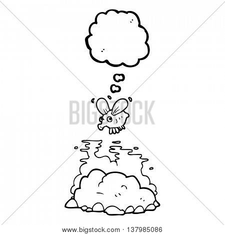 freehand drawn thought bubble cartoon fly and manure