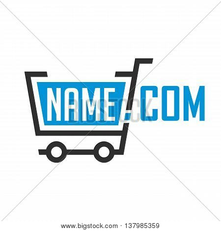 Universal logo online store template. Logo shopping trolley. Icon online shopping.