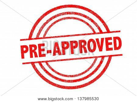 PRE-APPROVED Rubber Stamp over a white background.