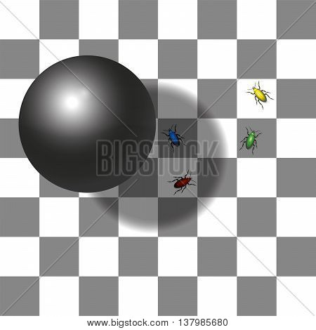 Optical shadow illusion - the two squares with the red and the green beetle are the same shade of gray - believe it., vector poster