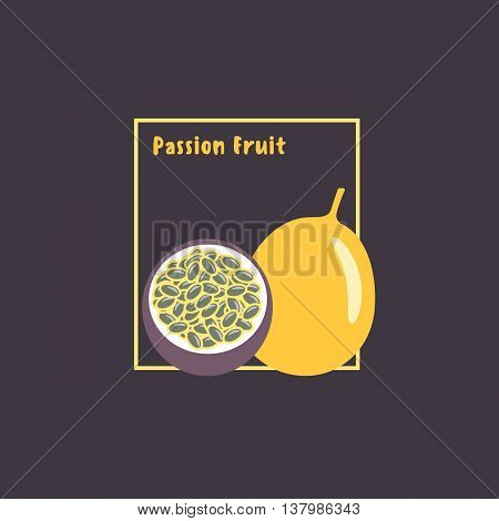 Hand drawing exotic tropical passion fruit (Maracuja) with slice on dark background. Cartoon icon flat design. Vector isolated illustration.