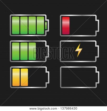 vector battery charger set, battery icon, full and battery sign
