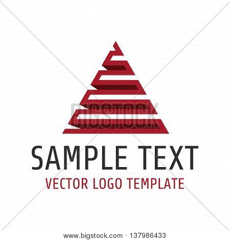 Vector logo template universal pyramid. Icon red pyramid of lines.