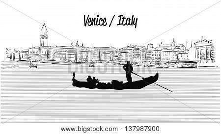 Venice Skyline With Gondola, Hand Drawn Vector Sketch