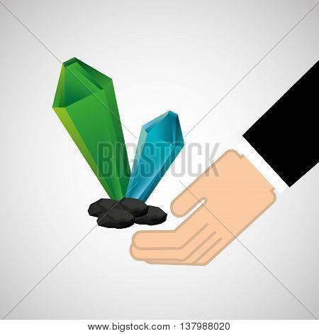 hand holding cristal, green concept, vector illustration