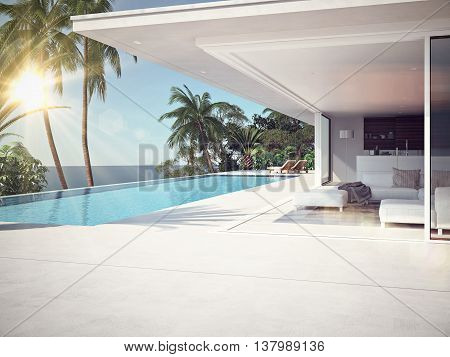 Luxury swimming pool and blue water at the resort. 3d rendering