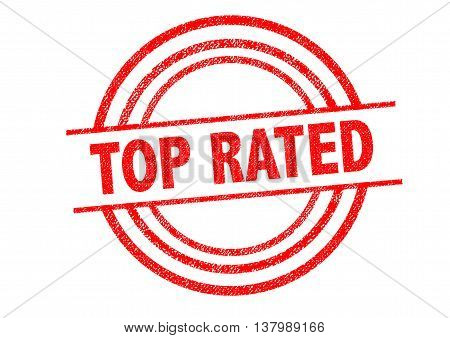 TOP RATED Rubber Stamp over a white background.