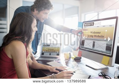 Composite image of build website interface against business people working together