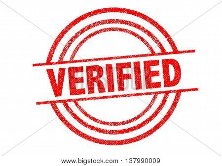 VERIFIED Rubber Stamp over a white background.