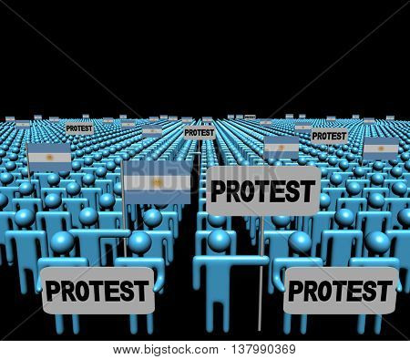 Crowd of people with protest signs and Argentina flags 3d illustration