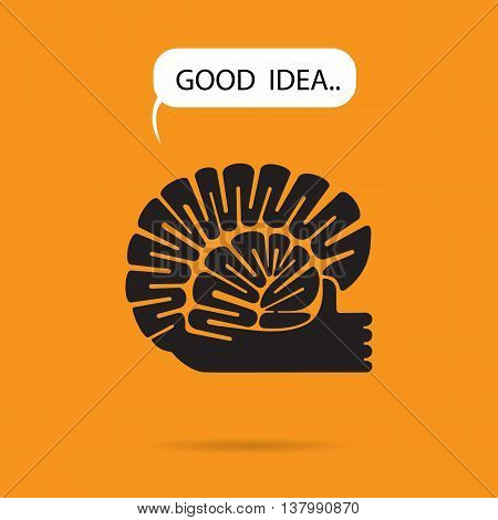 Brain and hand logo vector design.The best idea sign.Good idea logo.Education and business logotype concept.Vector illustration