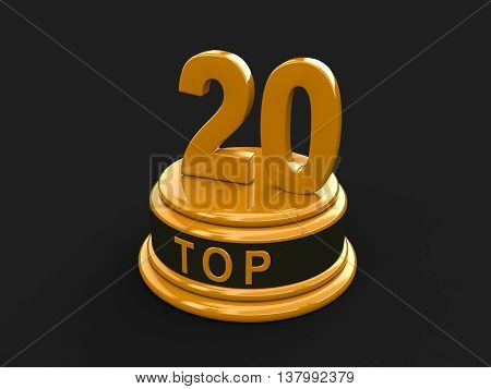 Top 20. Realistic Gold Percent Isolated (3D Render)