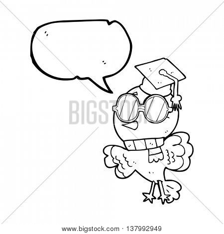 cute freehand drawn speech bubble cartoon well educated bird