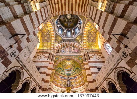MARSEILLE, FRANCE - MAR 14 :Interior of  Notre-Dame de la Garde Church on March 14, 2016. This Neo-Byzantine church was built by Henri-Jacques Esperandieu on the foundations of an ancient fort.