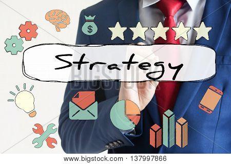 Strategy Drawn On Virtual Board By Businessman