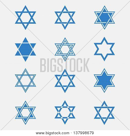 Star of David vector set isolated from the background. Blue Jewish Star in flat style. Abstract icons Magen David or David Shield. Solomon Seal signs.