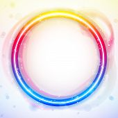 Vector - Alphabet Rainbow Lights in Circle White Background poster