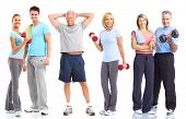 Gym, Fitness, healthy lifestyle. Smiling people. Over white background poster