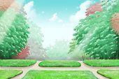 School Park Forest Sky, a Silent Place to Think. Video Game's Digital CG Artwork, Concept Illustration, Realistic Cartoon Style Background poster