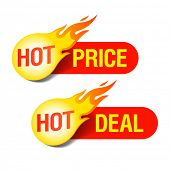 Hot Price and Hot Deal tags. Vector. poster