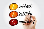 Hand writing LLC - Limited Liability Company with marker acronym business concept poster