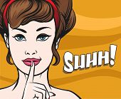 Woman face with Finger on her Lips. Hush gesture and wording Shhh. Illustration in popart style. poster