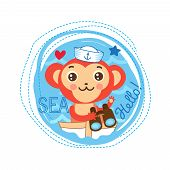 Cute Monkey Sailor Vector Illustration. Sea Theme Cartoon Vector. Cute Picture For Kids T-Shirt . Sailor Monkey On The Boat. Monkey Sailor Baby Gift. poster