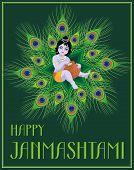 Krishna Janmashtami. Beautiful greeting card with little Krishna's image. poster