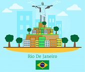 Rio De Janeiro poster with flat style poster