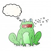 freehand drawn thought bubble cartoon burping frog poster