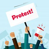 Hands holding protest signs and bullhorn, crowd of people protesters background, political, politic crisis poster, fists, revolution placard concept symbol flat style modern design vector illustration poster