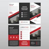Red black triangle business trifold Leaflet Brochure Flyer report template vector minimal flat design set abstract three fold presentation layout templates a4 size poster
