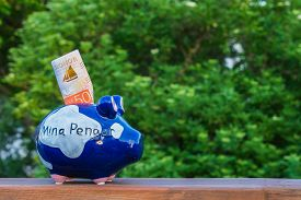 A Piggy Bank On A Plank In Front Of A Green Tree