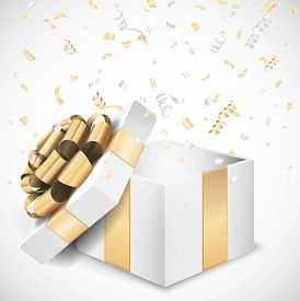 White gold open gift box and confetti