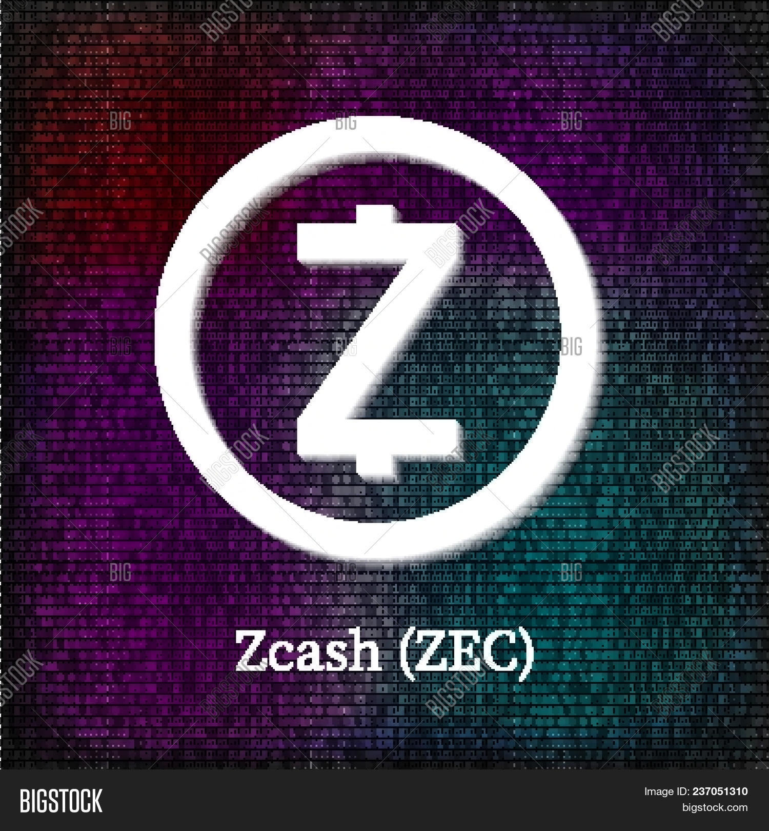 Zcash Symbol On Dark Binary Code Background Cryptocurrency Icon Virtual Digital Money Blockchain