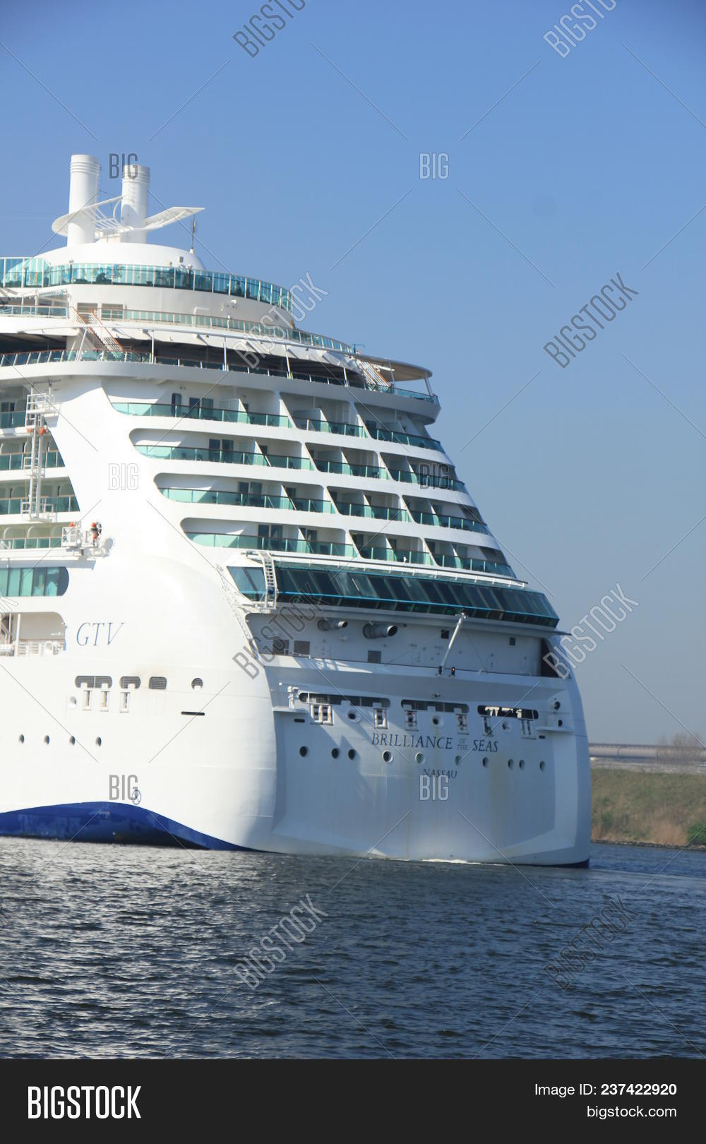 Velsen, the Netherlands - April, 20 2018  Velsen, the Netherlands - April,  20 2018  MS Brilliance of the Seas in North Sea Canal, detail of stern 52466fe2bf